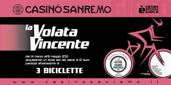 """Tutti al Giro d'Italia con """"la volata vincente"""", il nuovo concorso del Casinò di Sanremo"""