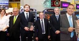 Expojoc. Premiati: MGA (innovazione); Novomatic-GiGames (imprenditorialità) e Jonny Ortiz (carriera)