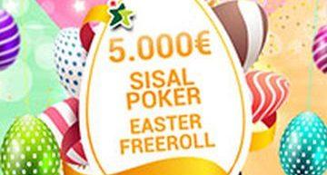 Sisal Poker Easter Freeroll. Torna su Sisal.it il torneo freeroll con il montepremi più alto d'Italia