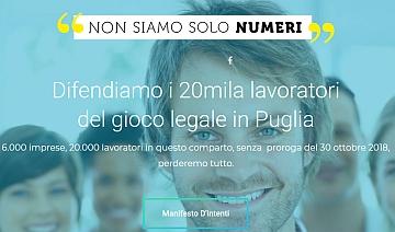 Puglia. Parte la petizione 'Non siamo solo numeri – Difendiamo i 20mila lavoratori del gioco legale in Puglia'